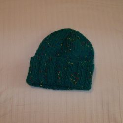 Knit Hat Green with color flecks