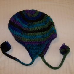 Crochet hat multi colored blue green