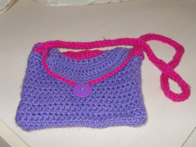 Purple and Pink Crocheted Child's Purse