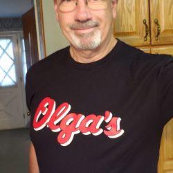 Michael proudly displaying his shirt