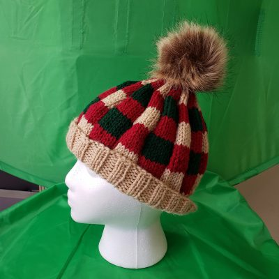 Large Knit Hat on Head