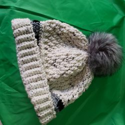 Large Gray Hat with Pom Pom
